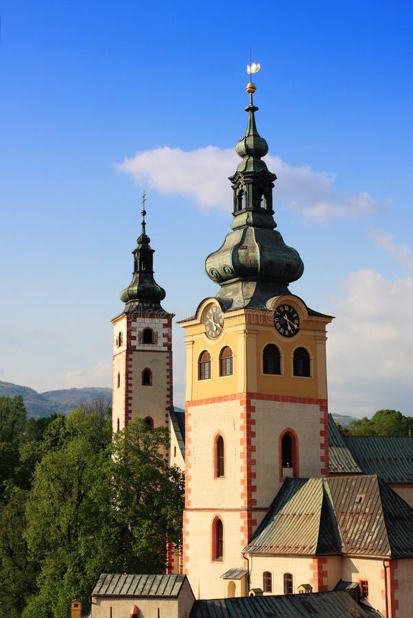 Banska Bystrica, vue de la Slovaquie de tour penchée photographie stock