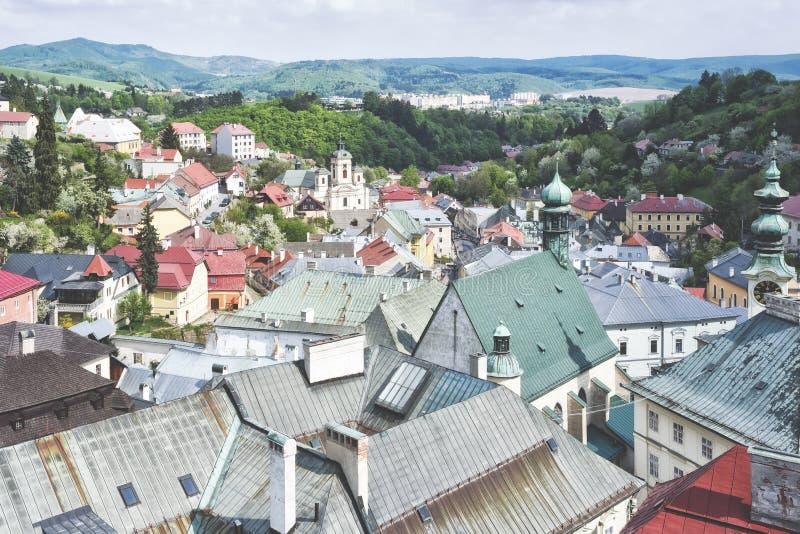 Banska Shtyavnica, cidade em Eslováquia fotos de stock royalty free