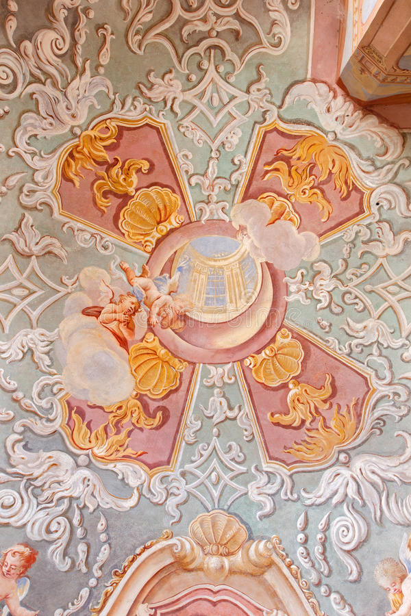 Banska Stiavnca - fresco in the lower church of baroque calvary by Anton Schmidt from years 1745 in the Chapel of Sacred heart. royalty free stock photography