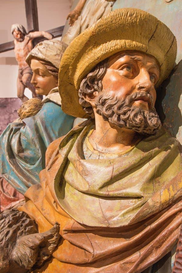 Banska Stiavnica - η λεπτομέρεια του χαρασμένου αγάλματος του ST Joseph και Mary ως μέρος μπαρόκ Calvary στοκ εικόνες με δικαίωμα ελεύθερης χρήσης