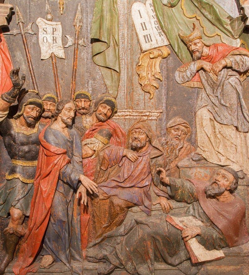 Banska Stiavnica - ο Ιησούς καταδικάζεται χαρασμένη στη θάνατος ανακούφιση ως μέρος μπαρόκ Calvary από τα έτη 1744 - 1751 στοκ εικόνα