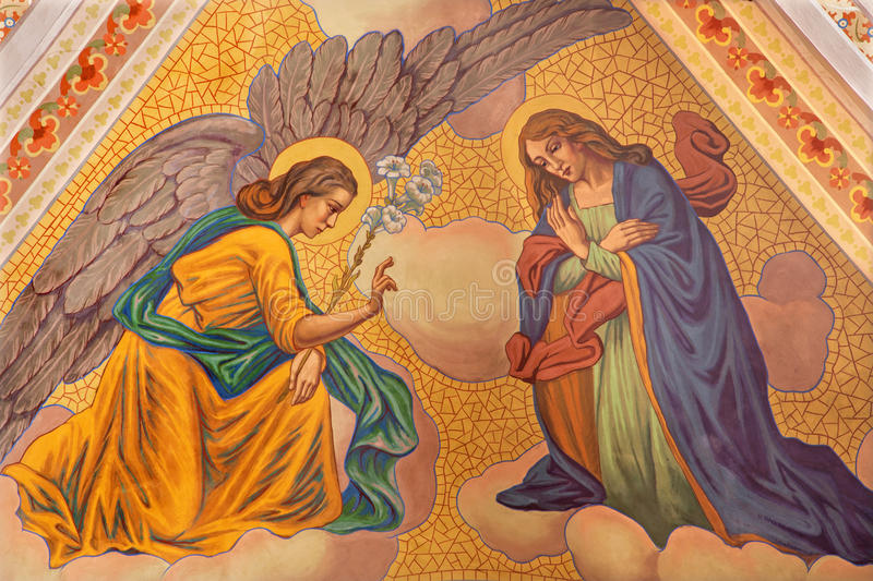 Banska Stiavnica - The Annunciation fresco on the ceiling of parish church from year 1910 by P. J. Kern. stock photos
