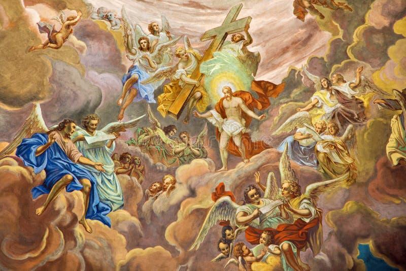 Banska Stiavnica - fresco de Cristo na glória da cena do céu na cúpula da igreja paroquial de 18 centavo por artista desconhecido imagem de stock royalty free