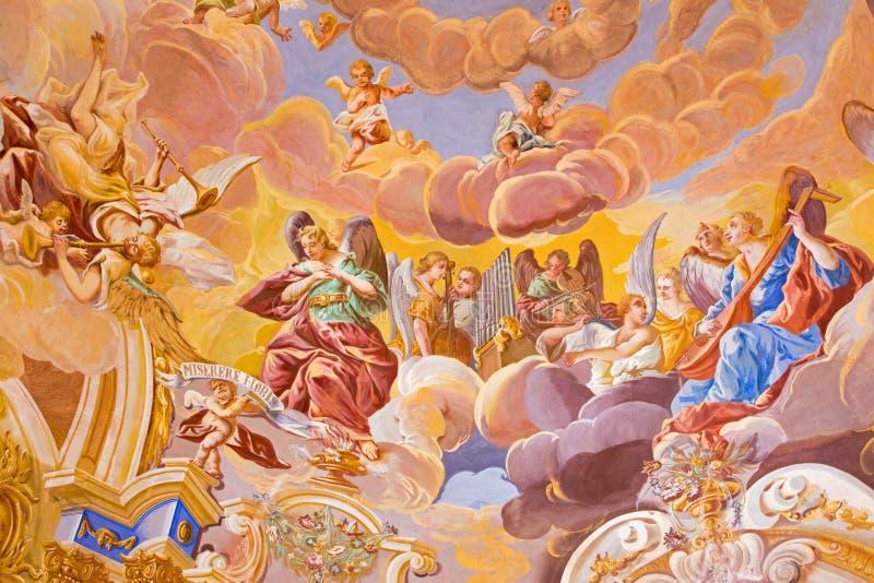 Banska Stiavnica - het detail van fresko op koepel in de middenkerk van barokke calvary royalty-vrije stock afbeeldingen