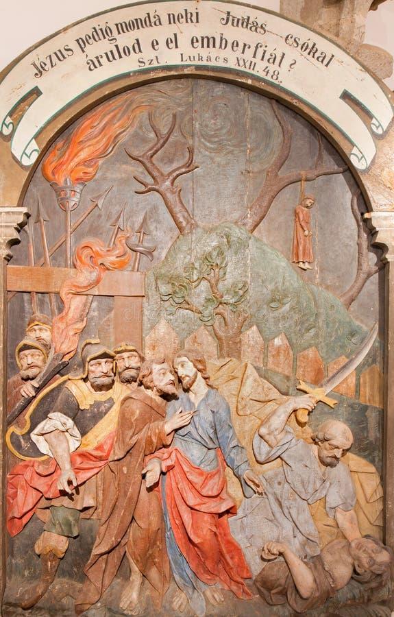 Banska Stiavnica - Judas背叛被雕刻的安心作为巴洛克式的受难象的部分从几年1744 - 1751 库存图片