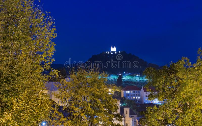 Banska Stiavnica night townscape with Calvary, Slovakia royalty free stock photography