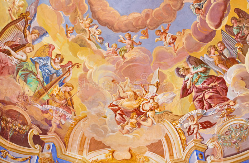 BANSKA STIAVNICA, SLOVAKIA - FEBRUARY 20, 2015: The detail of fresco on cupola in the middle church of baroque calvary. By Anton Schmidt from years 1745. Angels stock images