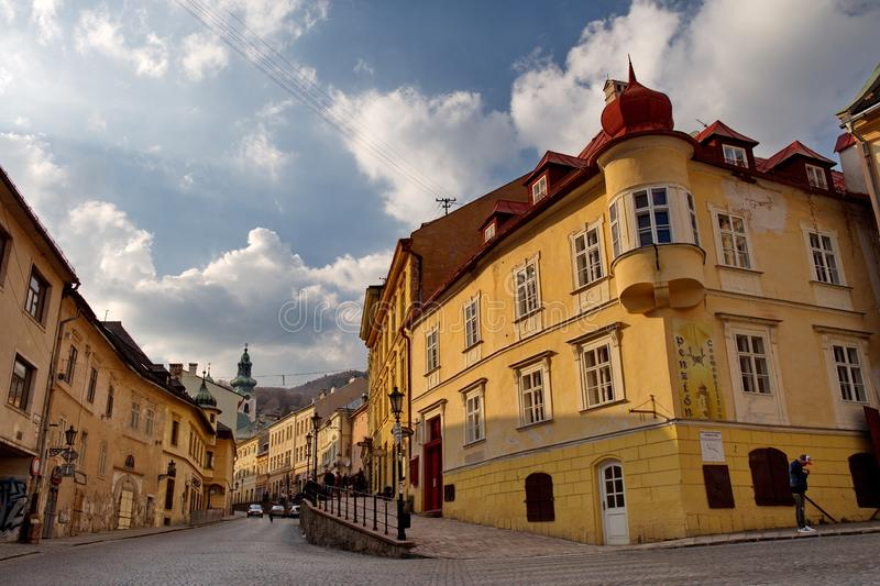 Banska Stiavnica, Slovakia - march 24, 2019 : old street and square in historical mining city of Banska Stiavnica royalty free stock images