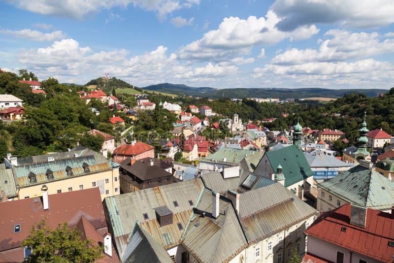 Banska Stiavnica, Slovakia Panorama da cidade fotografia de stock