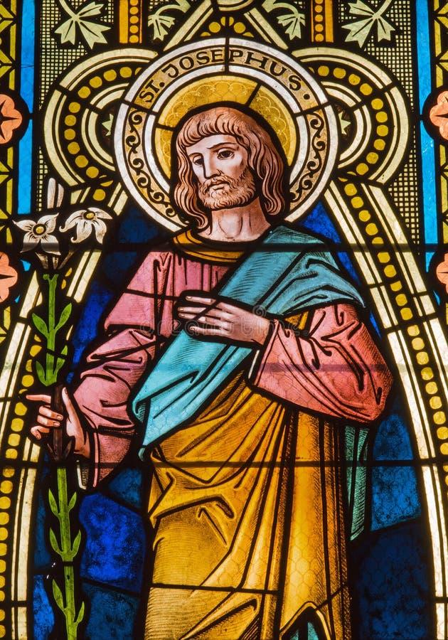 Banska Stiavnica - The St. Joseph on the windowpane in st. Elizabeth church from 19. cent. royalty free stock photos