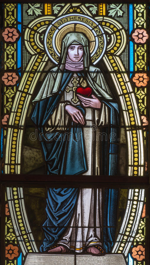 Free Banska Stiavnica - St. Therese Of Lisieux On The Windowpane In St. Elizabeth Church From 19. Cent. Stock Image - 58954871