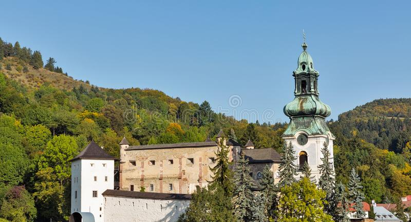 Banska Stiavnica townscape with castle in Slovakia. royalty free stock image