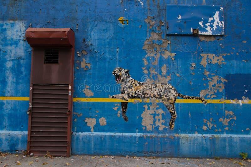 Bansky油漆在作为居住-洋基体育场的纽约 免版税库存照片