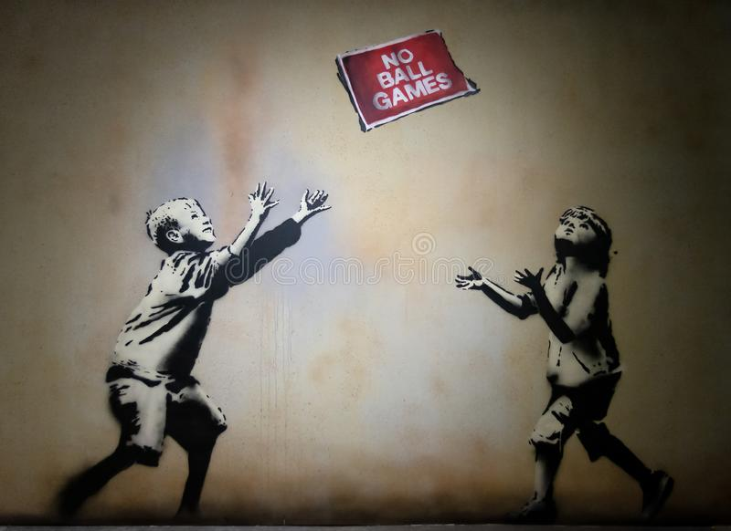 Bansky-Graffiti-Kunst Die Welt von Bansky lizenzfreie abbildung