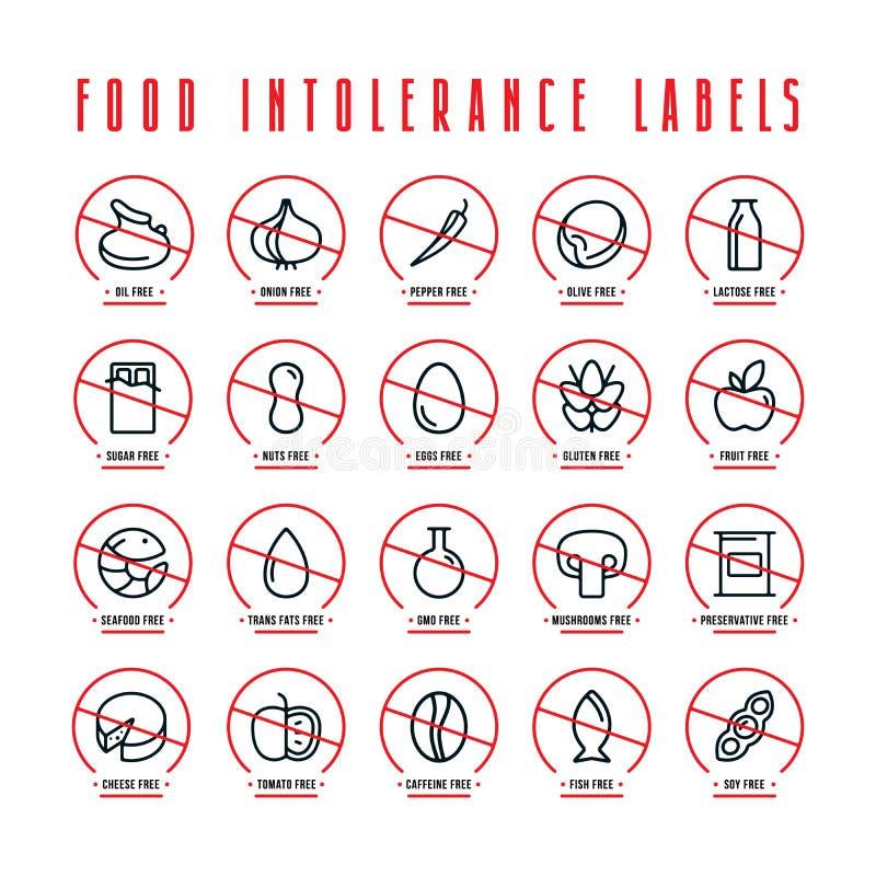 Banta och matintolerans etiketter stock illustrationer