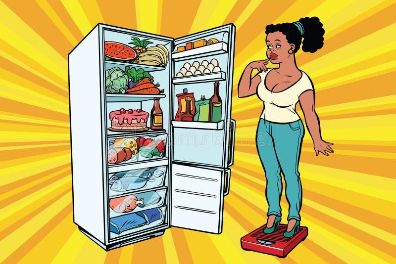 banta Ung kvinna på våg, ställning bredvid kylskåpet med stock illustrationer