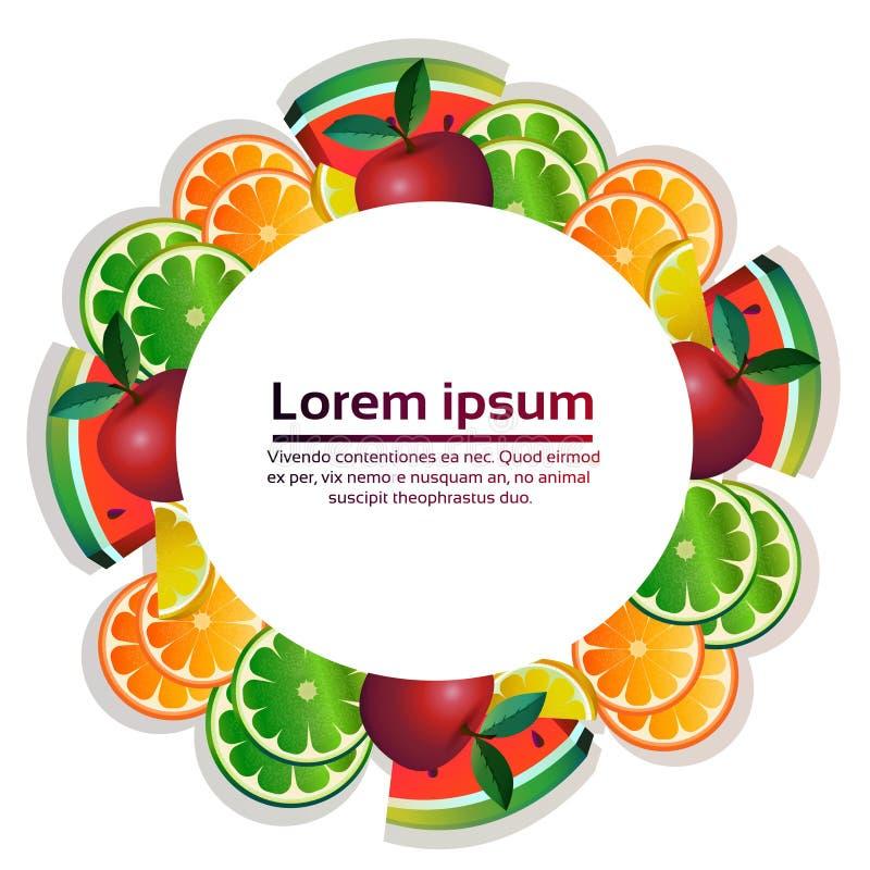 Bantar den färgrika cirkeln för tropiska frukter som är organisk över sund livsstil för vit bakgrund eller, begreppskopieringsutr stock illustrationer