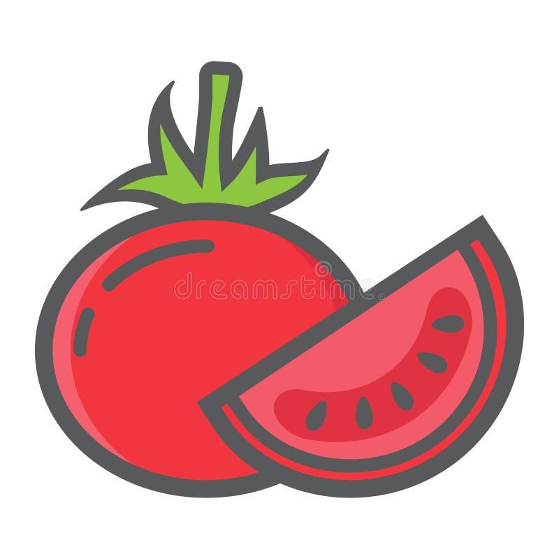 Bantar den färgrika linjen symbolen, grönsak för tomaten och vektor illustrationer