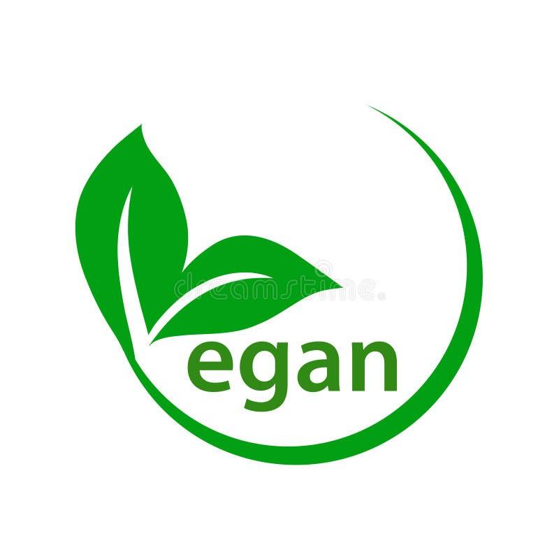 Bantar den gröna strikt vegetarian för begreppet logo med bladsymbolen Vektor Illustratio stock illustrationer
