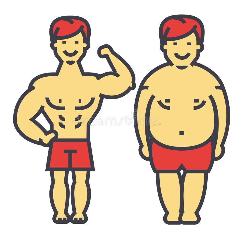 Bantar förlorande vikt för grabben, fet grabb, före och efter, och kondition som bantar den unga mannen, mannen förlorar vikt, be vektor illustrationer