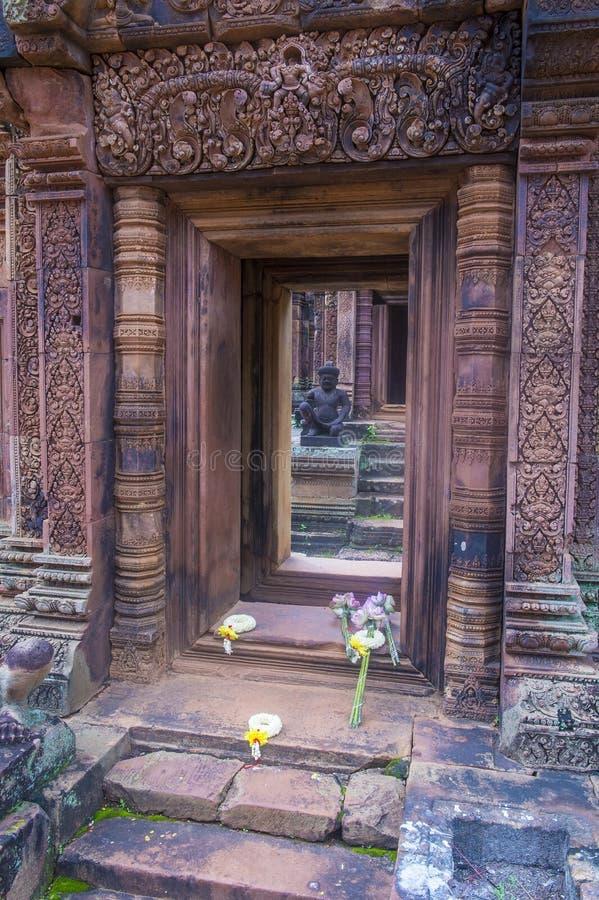 Banteay Srei寺庙在柬埔寨 库存图片