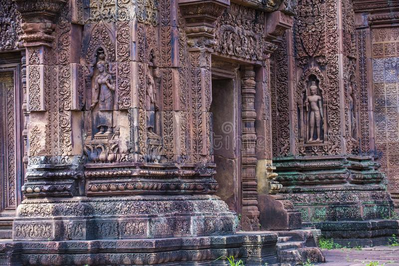 Banteay Srei寺庙在柬埔寨 免版税图库摄影