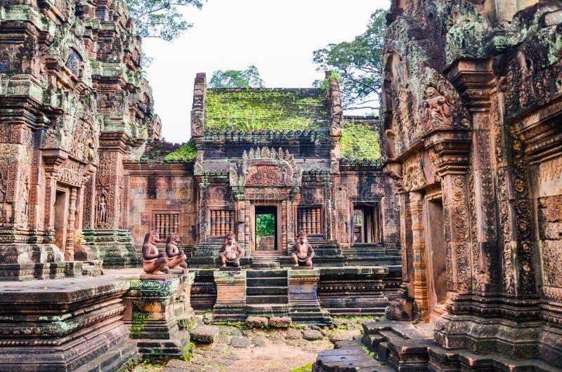 Banteay Srei寺庙,吴哥窟,暹粒,柬埔寨 2015年9月1日 库存照片