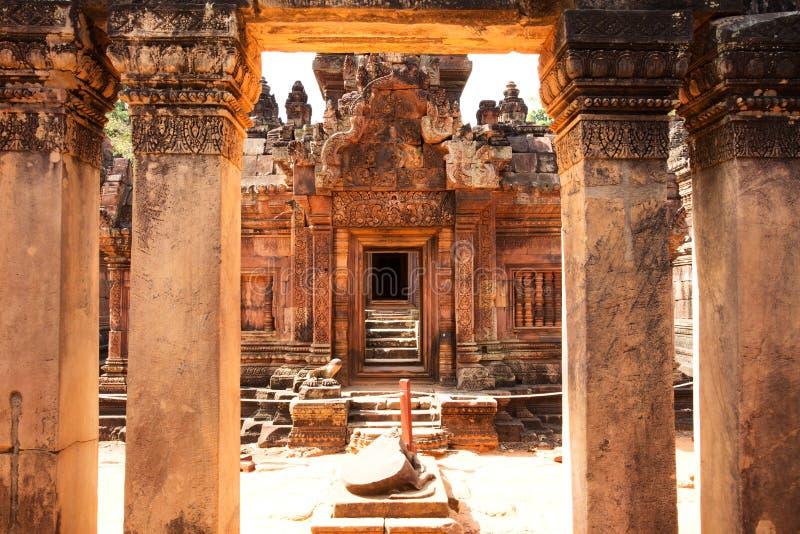 Banteay Srei świątynia, świątynie Angkor, Kambodża zdjęcie stock