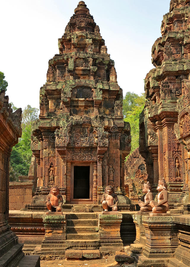 Banteay Srei - Angkor stock afbeelding
