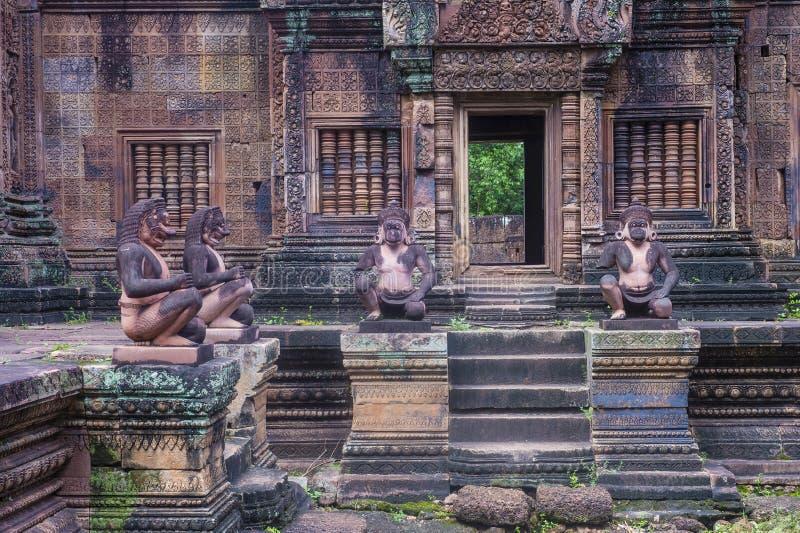 Banteay Srei tempel i Cambodja arkivbilder