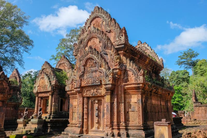 Ancient temple in cambodia. Banteay Srei Temple Ban Tai Srei Temple of the Angkor Complex in Cambodia. Banteay Srei Temple Ban Tai Srei Temple of the Angkor stock image