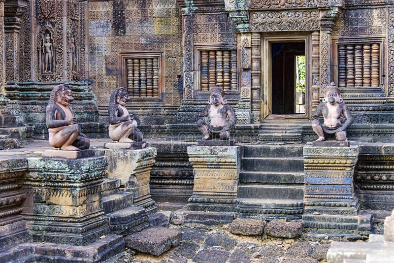 Monkey guardians at Banteay Srei temple, Cambodia. Banteay Srei is a 10th-century Cambodian temple dedicated to the Hindu god Shiva. Located in the area of royalty free stock photography