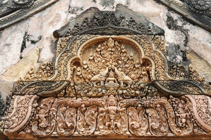 Banteay Srey Bas Reliefs stock photos