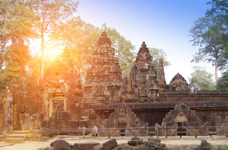 Banteay Srey Temple ruins Xth Century on a sunset, Siem Reap, Cambodia.  stock photo
