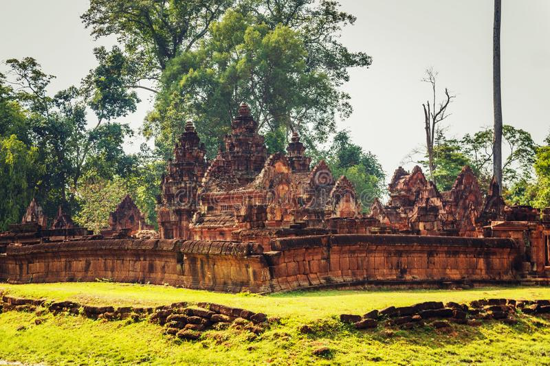 Banteay Srey - unique temple of pink sandstone. Angkor, Siem Reap, Cambodia stock photography
