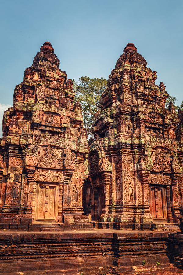 Banteay Srey - unique temple of pink sandstone. Angkor, Siem Reap, Cambodia stock photo