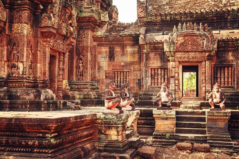 Banteay Srey - unique temple of pink sandstone. Angkor, Siem Reap, Cambodia stock photos