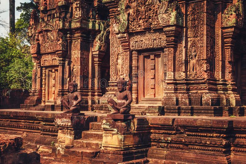 Banteay Srey - unique temple of pink sandstone. Angkor, Siem Reap, Cambodia royalty free stock photography