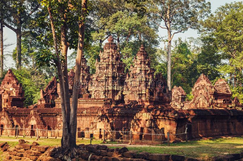 Banteay Srey - unique temple of pink sandstone. Angkor, Siem Reap, Cambodia stock images