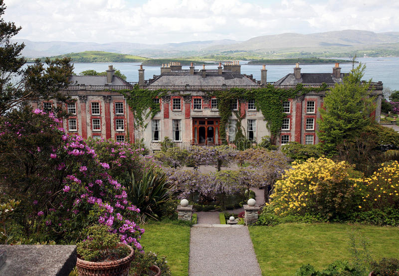 Bantry House. A view of the Bantry House and the Bantry Bay behind it in County Cork, Ireland stock photo