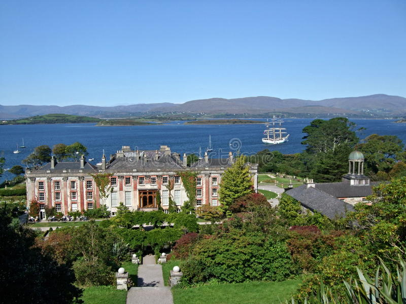 Bantry House in Ireland. With sailboat in behind royalty free stock images