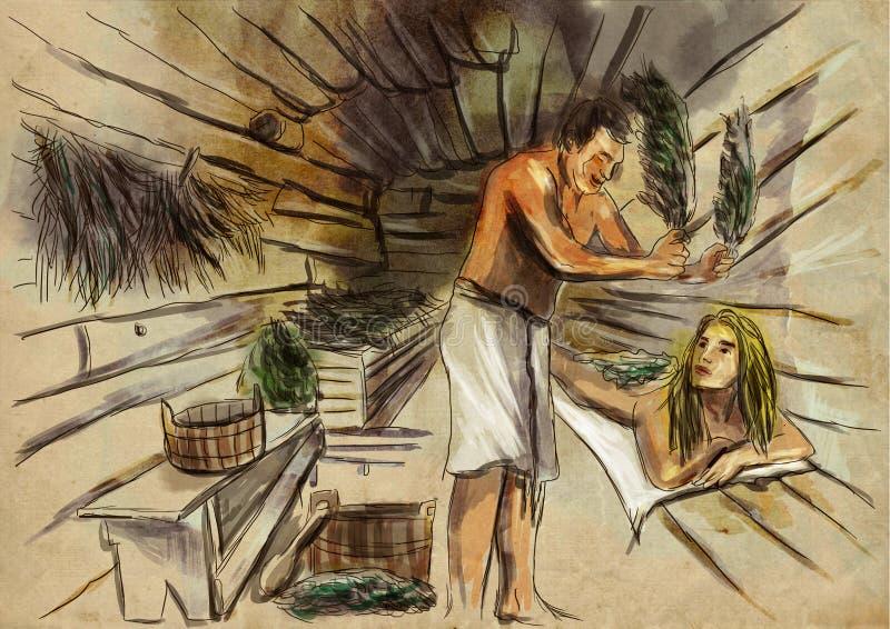 Banya sauna ilustração royalty free