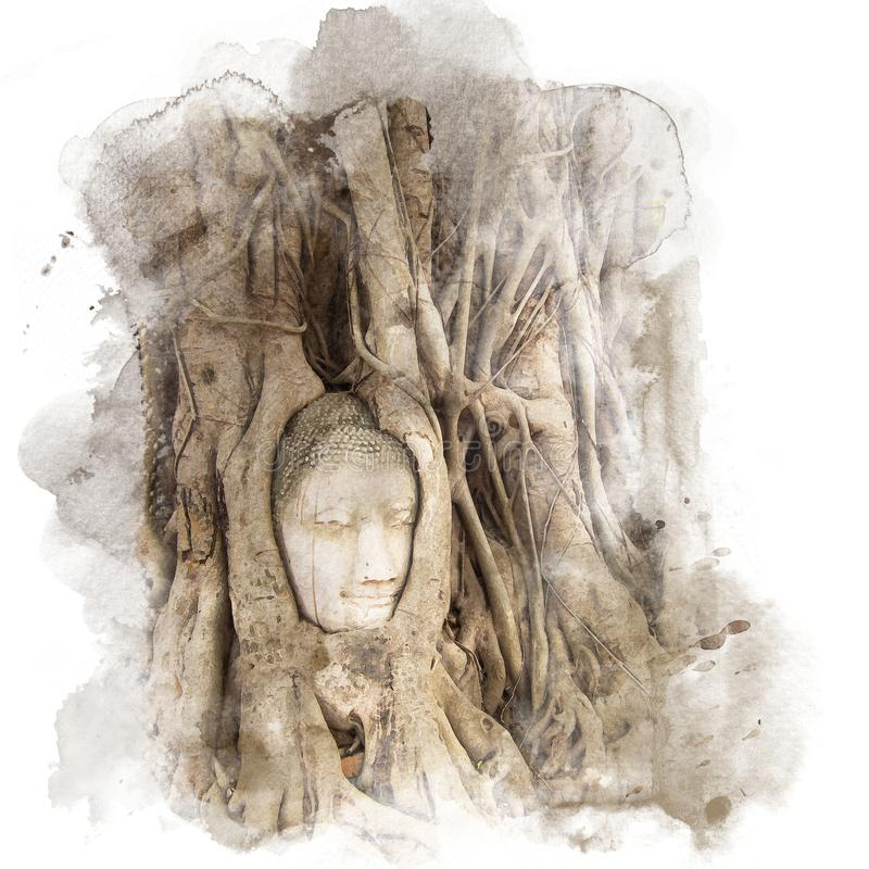 Banyan roots covering the buddha head. stock illustration