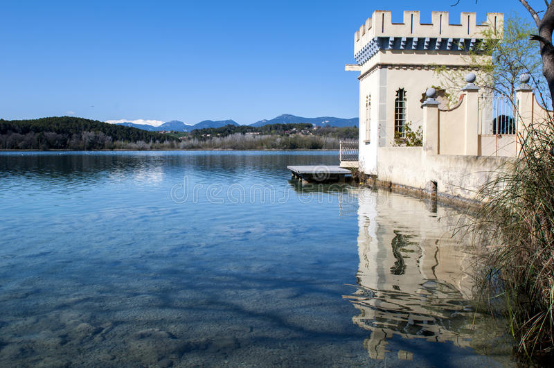 Banyoles,Spain. The tranquility of Banyoles Lake in Catalonia, Spain royalty free stock image
