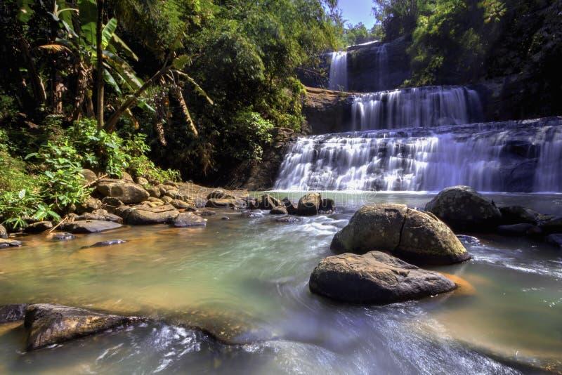 Banyumas Indonesia del ajibarang del nangga de la cascada foto de archivo