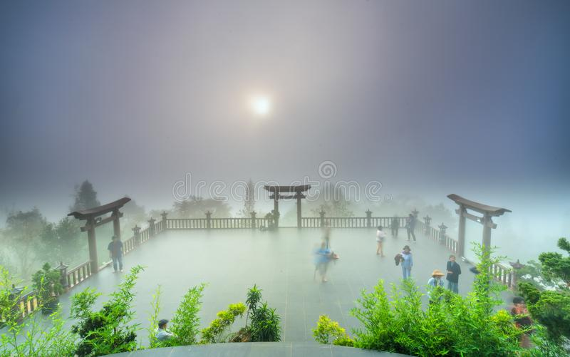The magical dawn on the pagoda stock photos