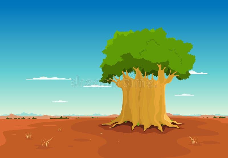 Baobab all'interno del deserto africano illustrazione di stock