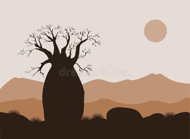 Baobabträdlandskap med bergbakgrund Baobabkontur Afrikansk soluppgång vektor illustrationer
