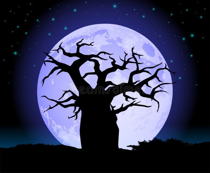 baobabu księżyc sylwetki drzewo ilustracja wektor