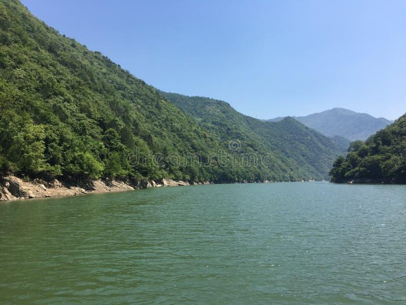 Baohe湖和山 免版税库存图片